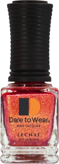 half fluid ounce bottle of orange with glitter Dare to Wear lacquer.