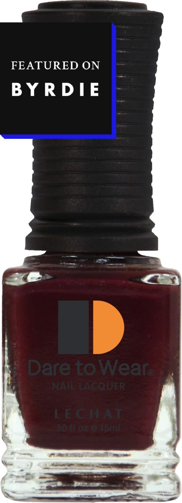 half ounce bottle of Dare to Wear lacquer. Badge near the top says, Featured on Byrdie.