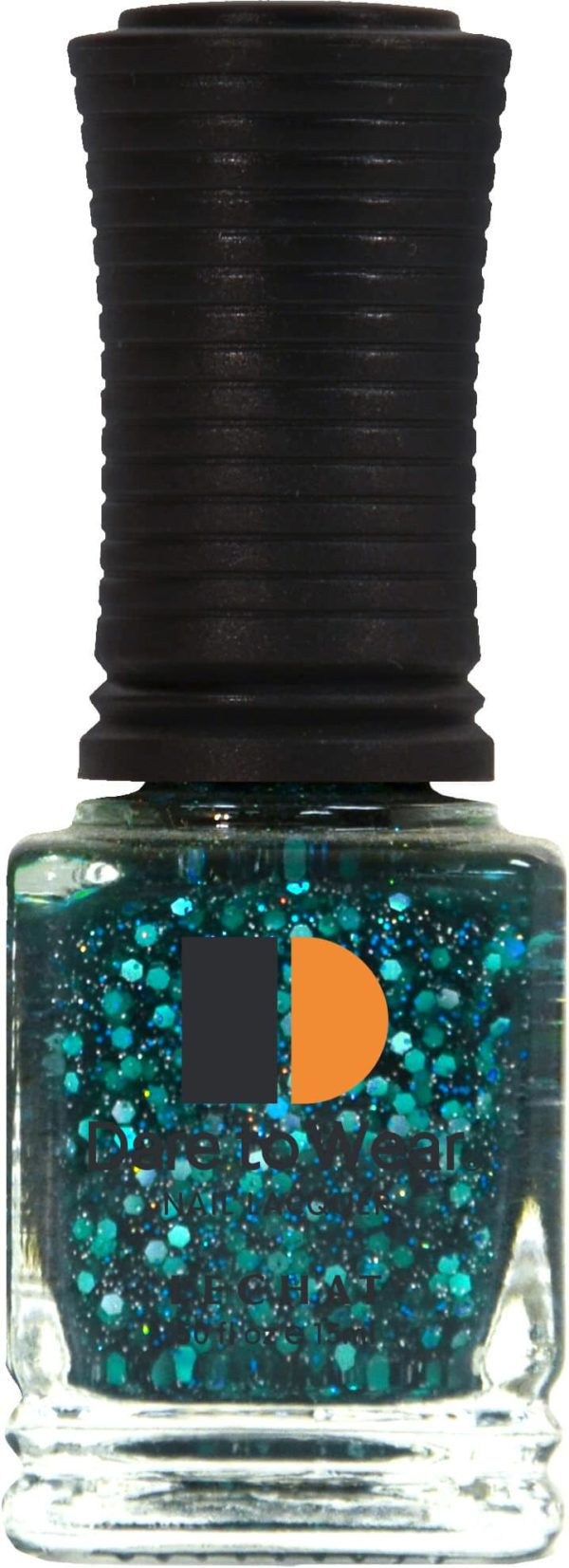 half fluid ounce bottle of blue with glitter Dare to Wear lacquer.