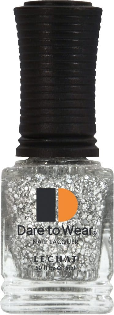 half fluid ounce bottle of silver with glitter Dare to Wear lacquer.