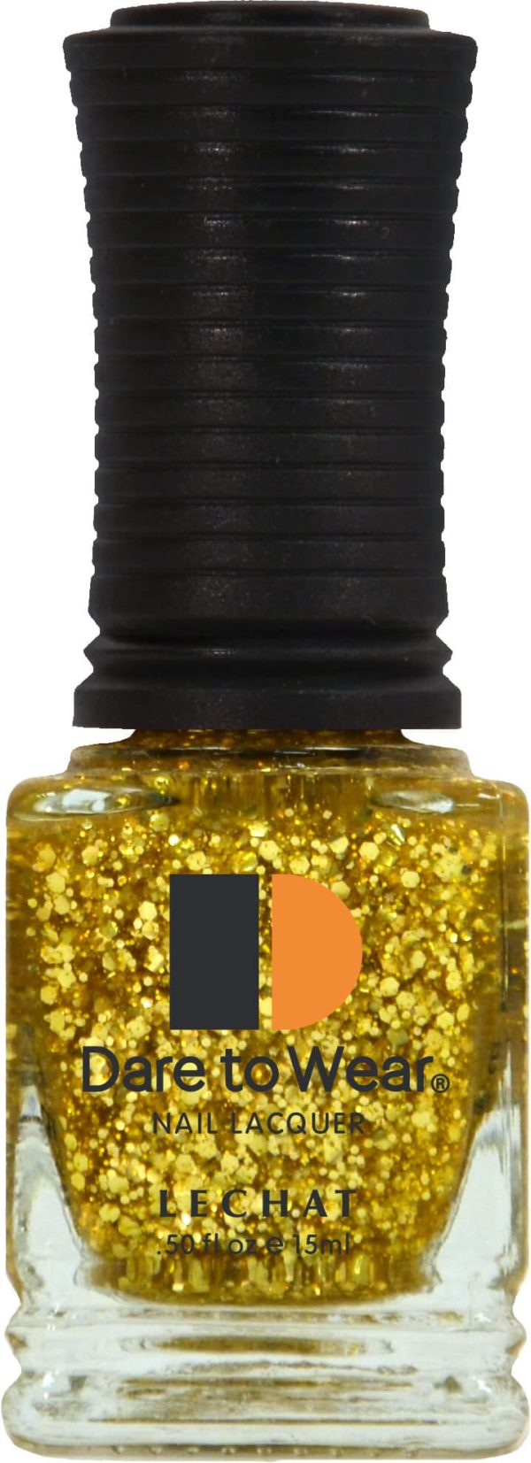 half fluid ounce bottle of gold and glitter lacquer.