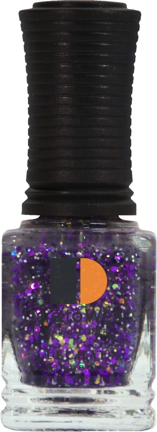 half fluid ounce bottle of purple and glitter lacquer.