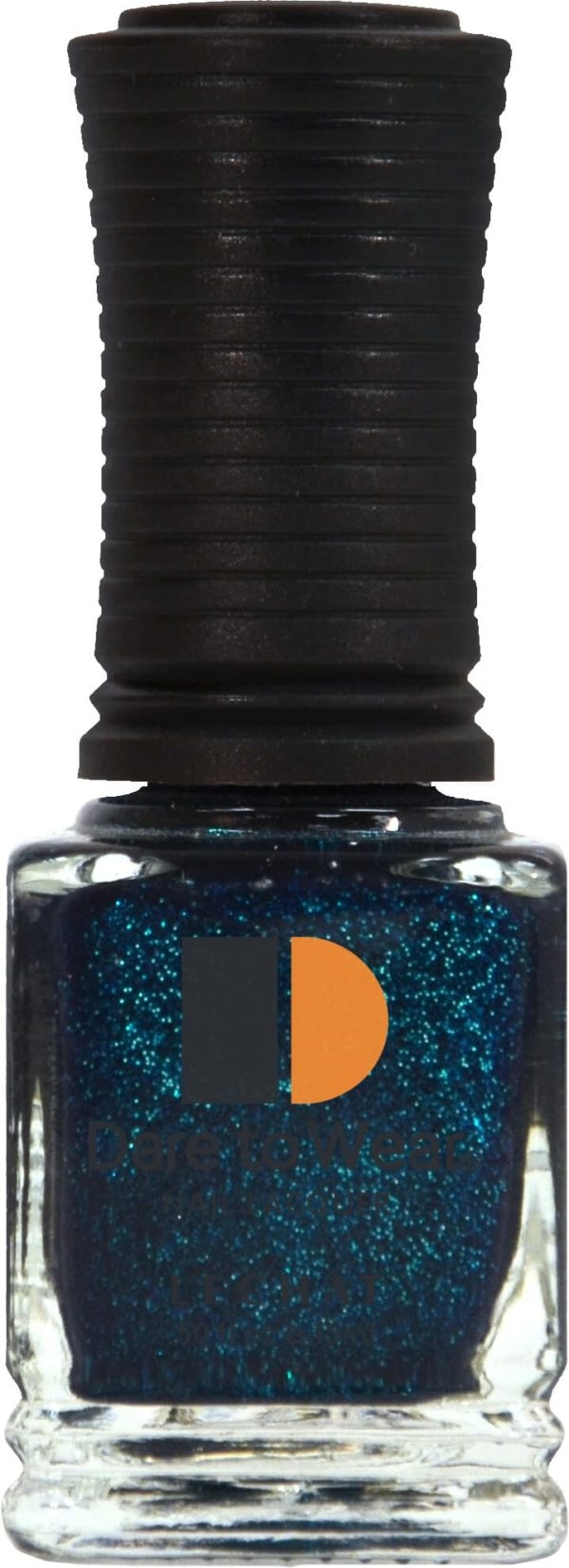 half liquid ounce bottle of blue and glitter lacquer.