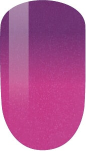 pink to purple color sample on nail tip.