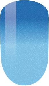light blue to blue color sample on nail tip.