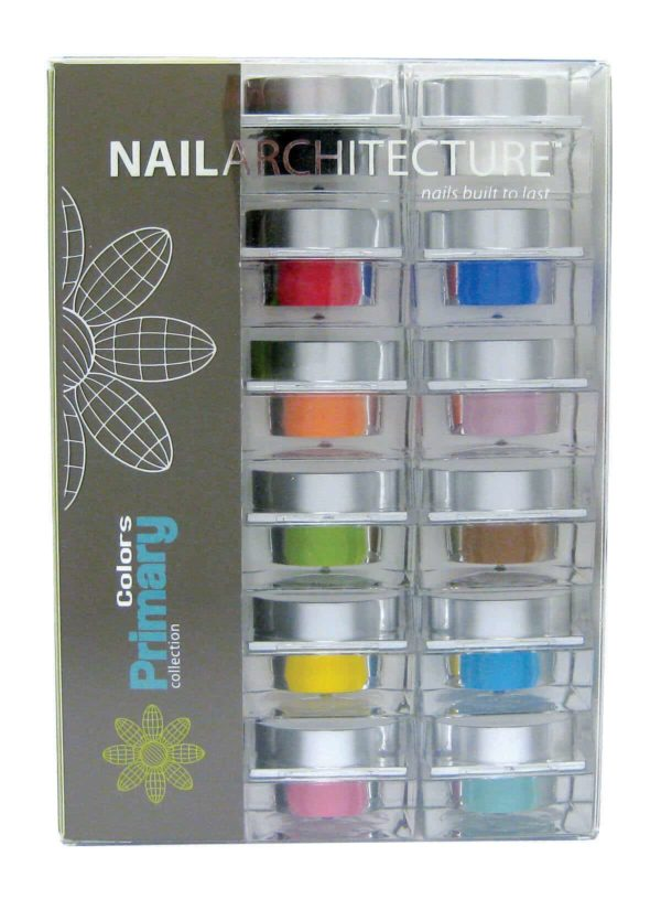 Nail Architecture Primary colors dip powder collection set.
