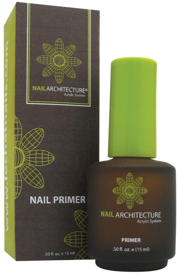 half fluid ounce bottle of Nail Architecture primer, next to it's box.