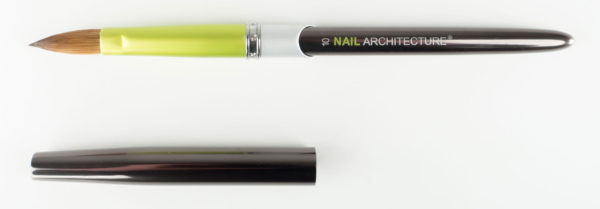 Nail Architecture size 10 pencil brush with cap next to it