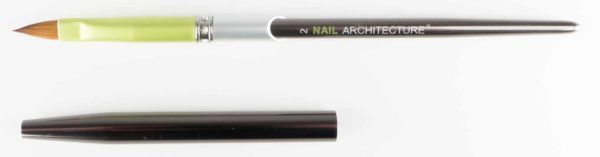 Nail Architecture size 2 pencil brush with cap next to it