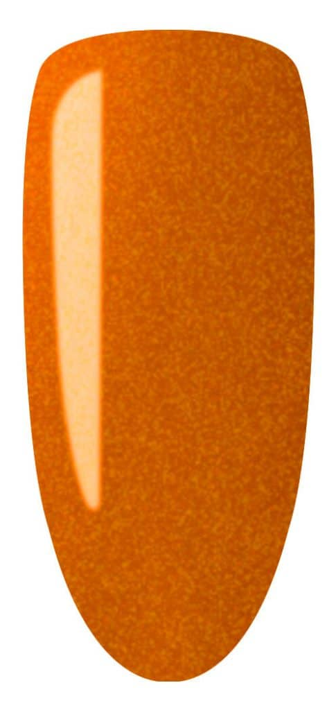 golden color sample on nail tip.