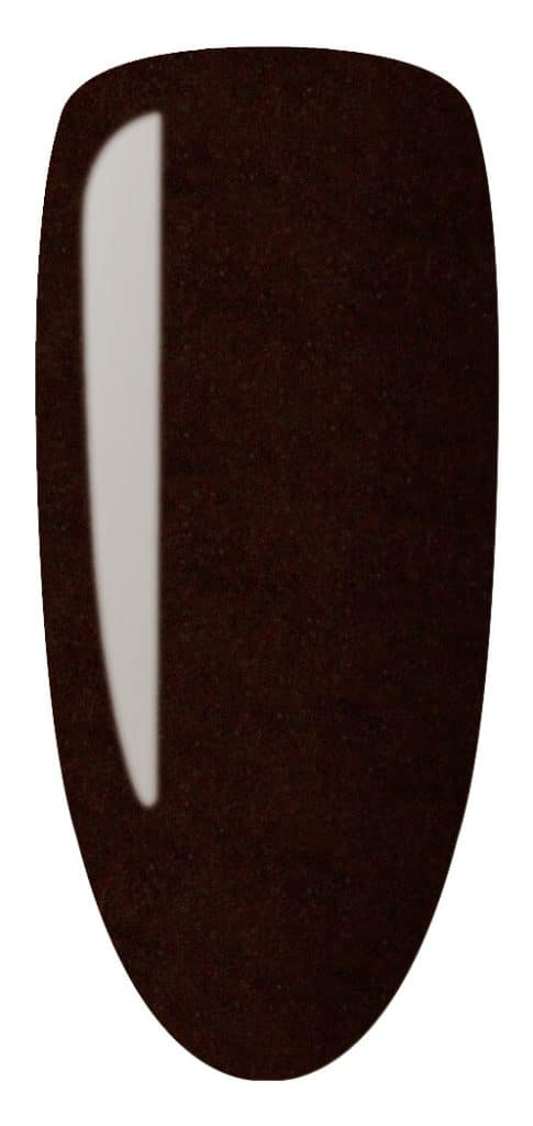 bronze color sample on nail tip.
