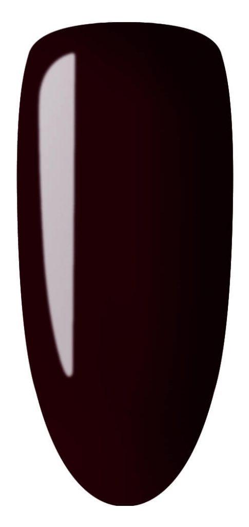 dark purple color sample on nail tip.