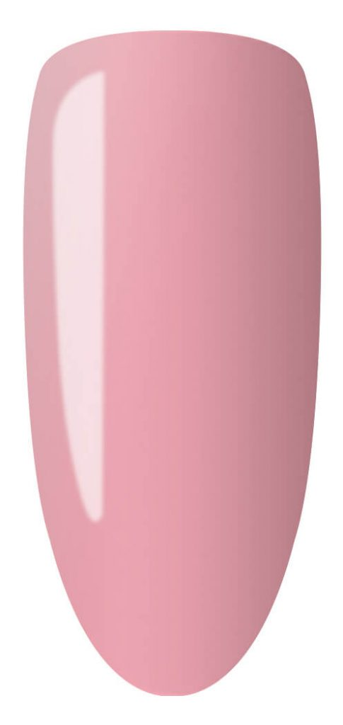 pink color sample on nail tip.