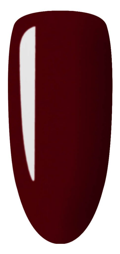 red color sample on nail tip.