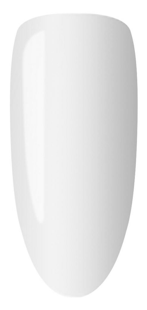 white color sample on nail tip.