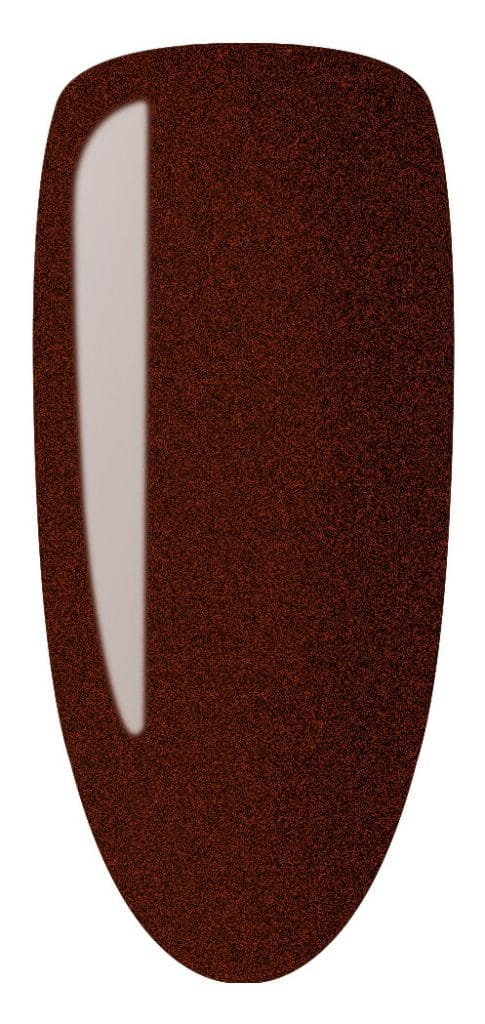 brown color sample on nail tip.