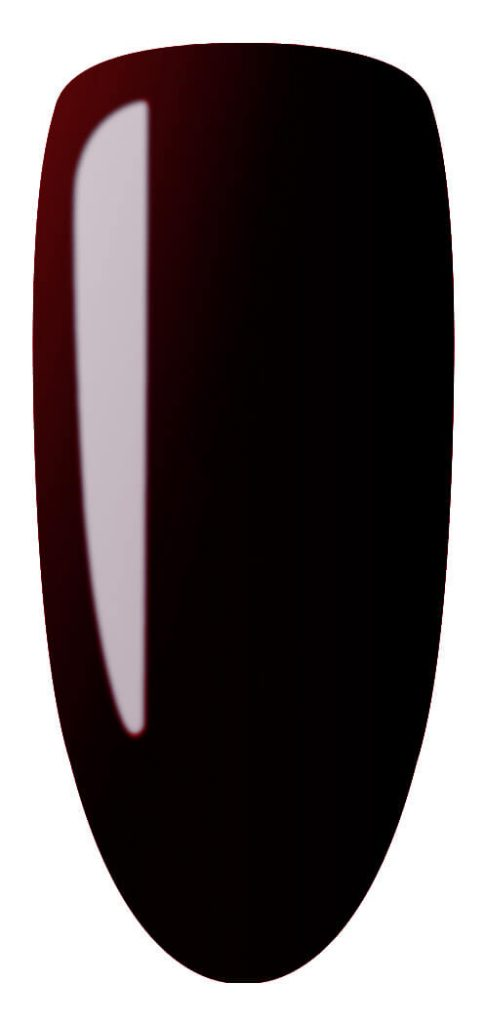 dark red color sample on nail tip.