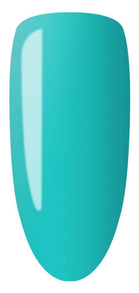 blue color sample on nail tip.