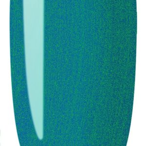 blue pink color sample on nail tip.