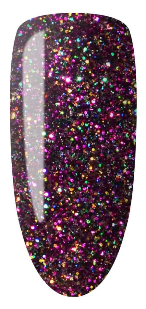purple and glitter color sample on nail tip.