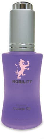 half fluid ounce bottle of Nobility cuticle oil.