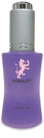 half fluid ounce bottle of Nobility cuticle oil.