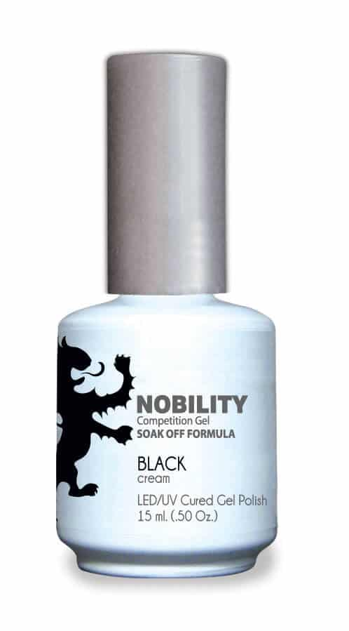 half fluid ounce bottle of Nobility black gel polish.