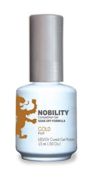 half fluid ounce bottle of Nobility golden gel polish.
