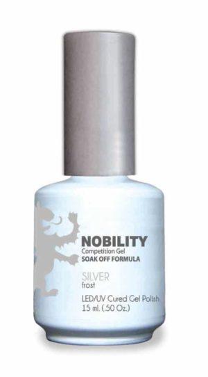 half fluid ounce bottle of Nobility silver gel polish.