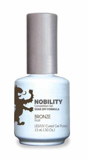 half fluid ounce bottle of Nobility bronze gel polish.