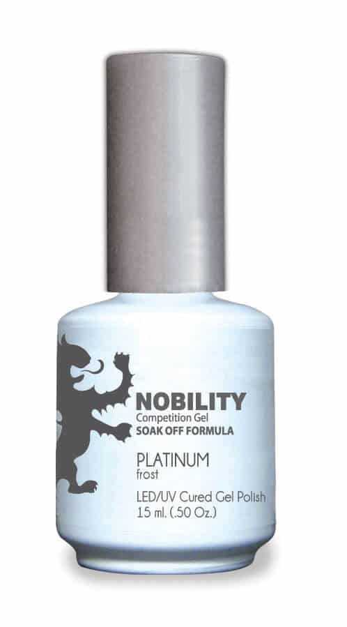 half fluid ounce bottle of Nobility grey gel polish.