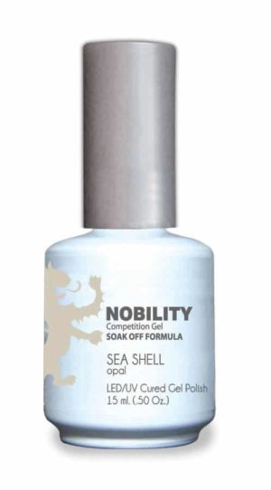 half fluid ounce bottle of Nobility white gel polish.