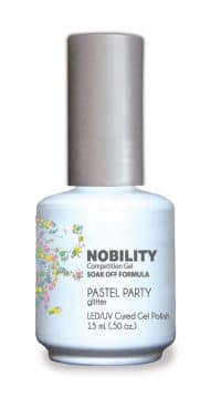 half fluid ounce bottle of Nobility multi-color gel polish.
