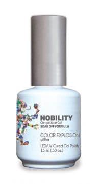 half fluid ounce bottle of Nobility multi-color gel polish.