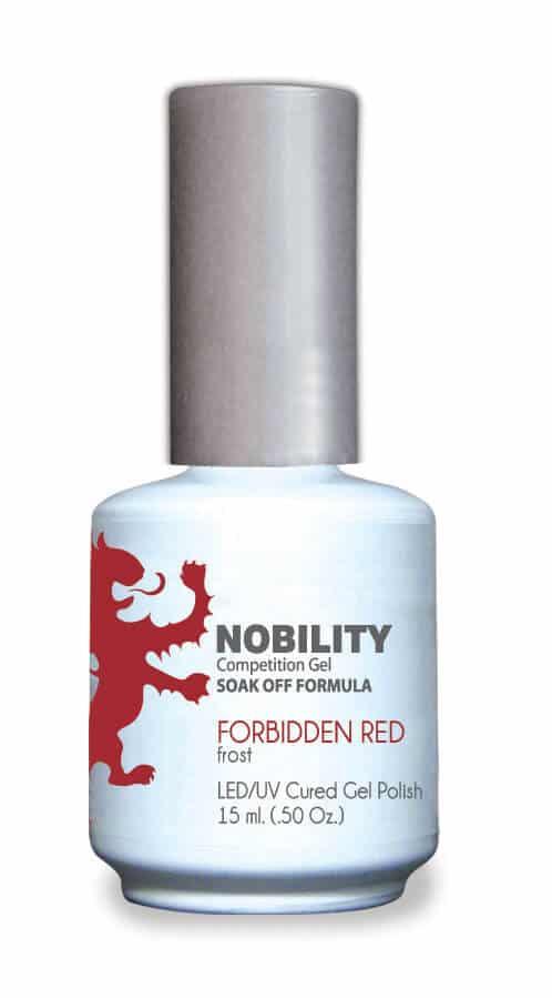 half fluid ounce bottle of Nobility red gel polish.
