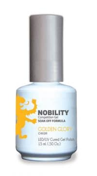 half fluid ounce bottle of Nobility yellow gel polish.