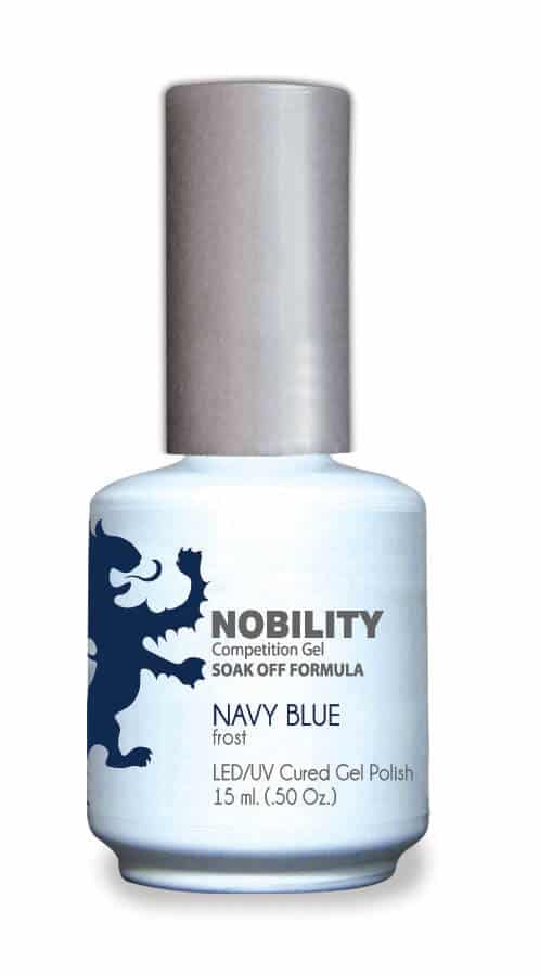 half fluid ounce bottle of Nobility blue gel polish.