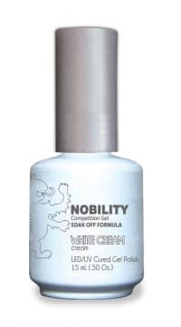 half fluid ounce bottle of Nobility white gel polish.