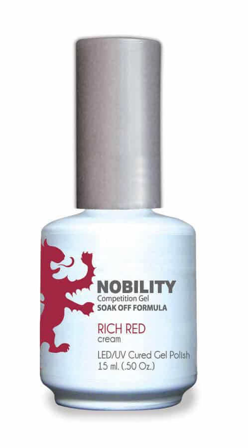 half fluid ounce bottle of Nobility red gel polish.