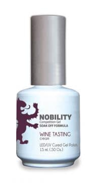 half fluid ounce bottle of Nobility purple gel polish.