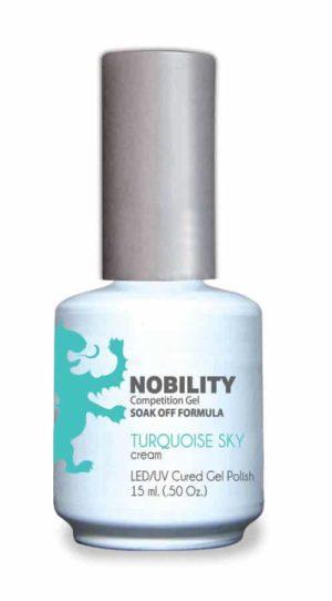 half fluid ounce bottle of Nobility blue gel polish.