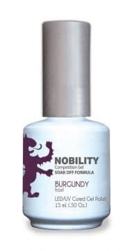 half fluid ounce bottle of Nobility burgundy gel polish.