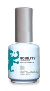 half fluid ounce bottle of Nobility teal gel polish.
