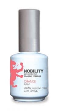 half fluid ounce bottle of Nobility orange gel polish.