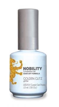 half fluid ounce bottle of Nobility yellow gel polish.