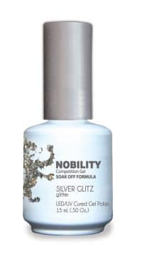 half liquid ounce bottle of silver nobility lacquer.