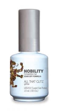 half fluid ounce bottle of Nobility golden gel polish.