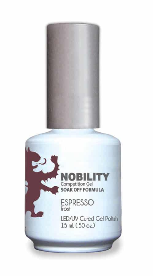 half fluid ounce bottle of Nobility brown gel polish.