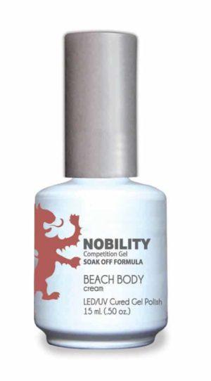 half fluid ounce bottle of Nobility beige gel polish.