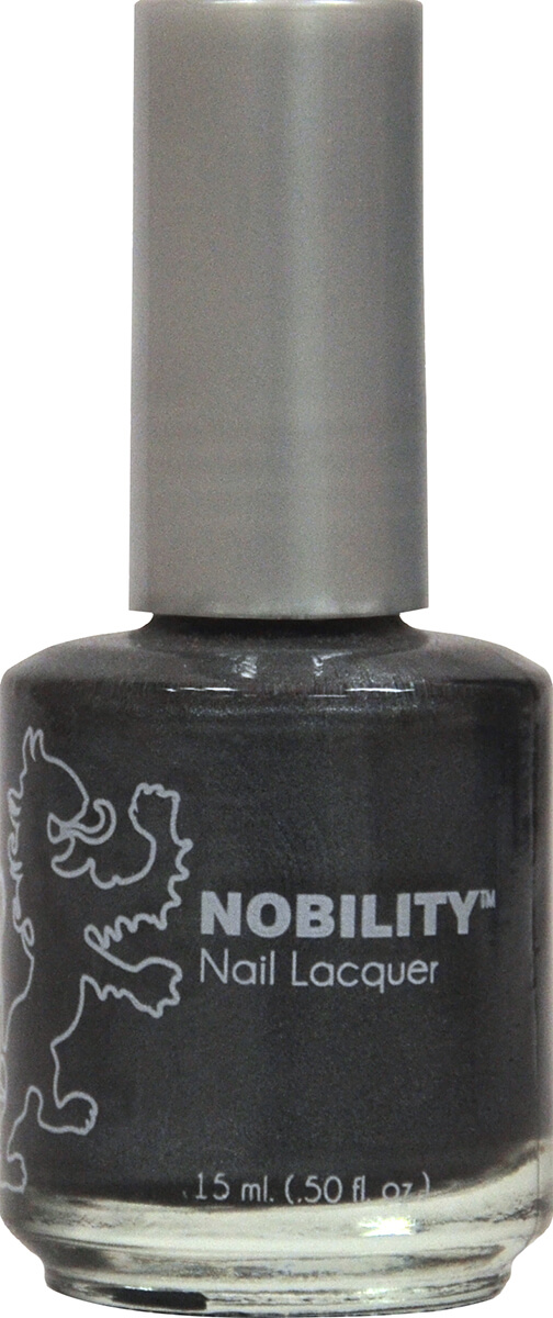 half fluid ounce bottle of Nobility silver nail lacquer.
